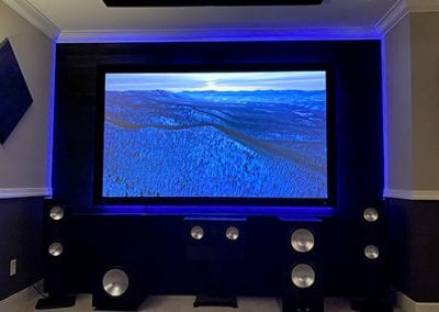 Home Theater Screen Lights and Speakers